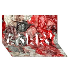 Strange Abstract 3 SORRY 3D Greeting Card (8x4)
