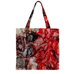 Strange Abstract 3 Zipper Grocery Tote Bags
