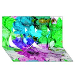 Strange Abstract 4 Twin Hearts 3D Greeting Card (8x4)