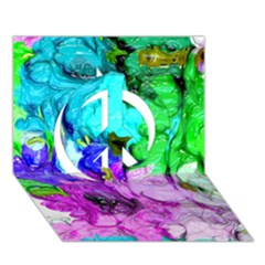 Strange Abstract 4 Peace Sign 3D Greeting Card (7x5)