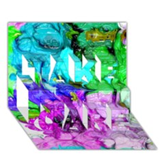Strange Abstract 4 Take Care 3d Greeting Card (7x5)