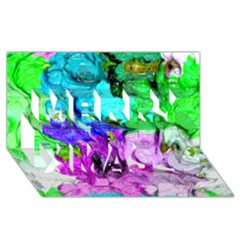 Strange Abstract 4 Merry Xmas 3D Greeting Card (8x4)