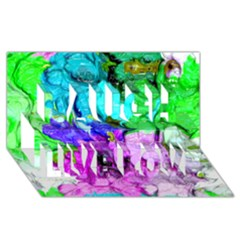 Strange Abstract 4 Laugh Live Love 3d Greeting Card (8x4)