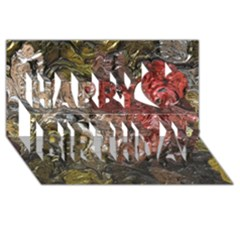 Strange Abstract 5 Happy Birthday 3D Greeting Card (8x4)
