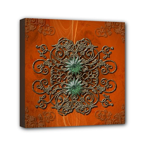 Wonderful Floral Elements On Soft Red Background Mini Canvas 6  X 6