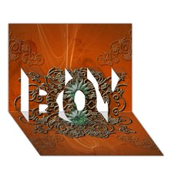 Wonderful Floral Elements On Soft Red Background Boy 3d Greeting Card (7x5)