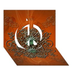 Wonderful Floral Elements On Soft Red Background Peace Sign 3D Greeting Card (7x5)