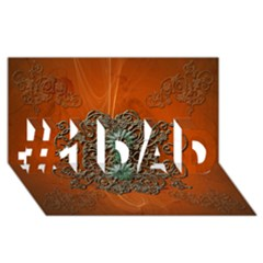 Wonderful Floral Elements On Soft Red Background #1 DAD 3D Greeting Card (8x4)