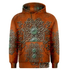 Wonderful Floral Elements On Soft Red Background Men s Pullover Hoodies