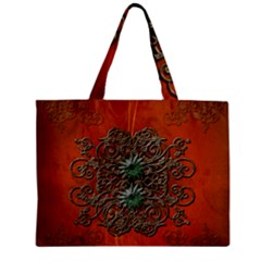 Wonderful Floral Elements On Soft Red Background Zipper Tiny Tote Bags