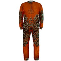 Wonderful Floral Elements On Soft Red Background Onepiece Jumpsuit (men)