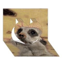 Meerkat 2 Heart 3D Greeting Card (7x5)