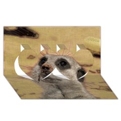 Meerkat 2 Twin Hearts 3d Greeting Card (8x4)
