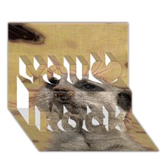 Meerkat 2 You Rock 3D Greeting Card (7x5)