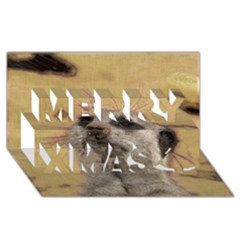 Meerkat 2 Merry Xmas 3D Greeting Card (8x4)