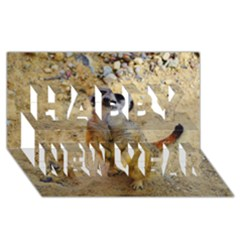 Lovely Meerkat 515p Happy New Year 3d Greeting Card (8x4)