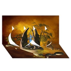 The Forgotten World In The Sky Twin Hearts 3D Greeting Card (8x4)