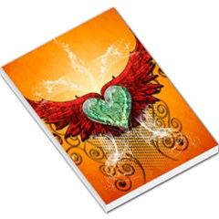 Beautiful Heart Made Of Diamond With Wings And Floral Elements Large Memo Pads
