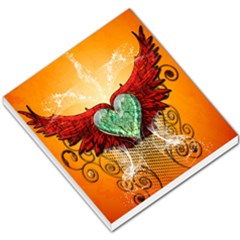 Beautiful Heart Made Of Diamond With Wings And Floral Elements Small Memo Pads