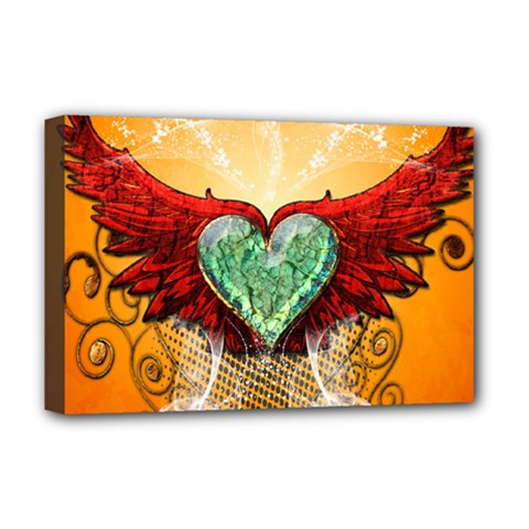 Beautiful Heart Made Of Diamond With Wings And Floral Elements Deluxe Canvas 18  x 12