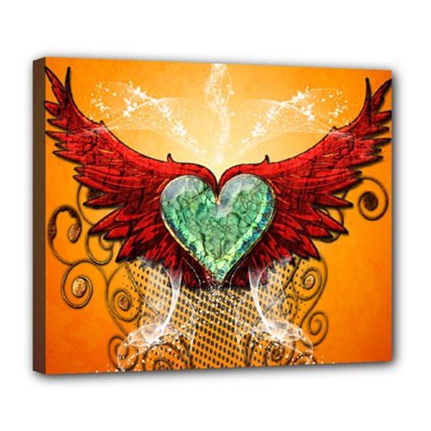Beautiful Heart Made Of Diamond With Wings And Floral Elements Deluxe Canvas 24  x 20