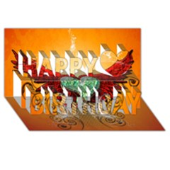 Beautiful Heart Made Of Diamond With Wings And Floral Elements Happy Birthday 3D Greeting Card (8x4)