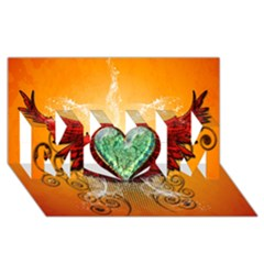 Beautiful Heart Made Of Diamond With Wings And Floral Elements MOM 3D Greeting Card (8x4)