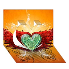 Beautiful Heart Made Of Diamond With Wings And Floral Elements Heart 3D Greeting Card (7x5)