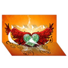 Beautiful Heart Made Of Diamond With Wings And Floral Elements Twin Hearts 3D Greeting Card (8x4)