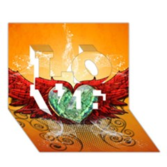 Beautiful Heart Made Of Diamond With Wings And Floral Elements LOVE 3D Greeting Card (7x5)