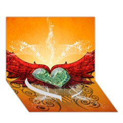 Beautiful Heart Made Of Diamond With Wings And Floral Elements Heart Bottom 3D Greeting Card (7x5)