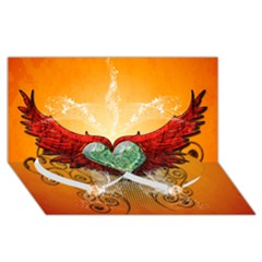 Beautiful Heart Made Of Diamond With Wings And Floral Elements Twin Heart Bottom 3D Greeting Card (8x4)