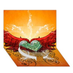 Beautiful Heart Made Of Diamond With Wings And Floral Elements Circle Bottom 3D Greeting Card (7x5)