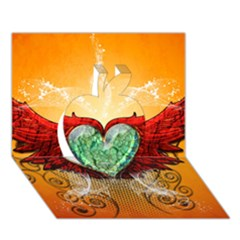 Beautiful Heart Made Of Diamond With Wings And Floral Elements Apple 3d Greeting Card (7x5)