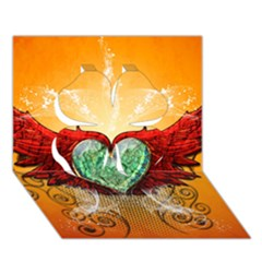 Beautiful Heart Made Of Diamond With Wings And Floral Elements Clover 3D Greeting Card (7x5)