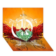 Beautiful Heart Made Of Diamond With Wings And Floral Elements Peace Sign 3d Greeting Card (7x5)
