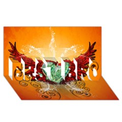 Beautiful Heart Made Of Diamond With Wings And Floral Elements Best Bro 3d Greeting Card (8x4)
