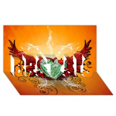 Beautiful Heart Made Of Diamond With Wings And Floral Elements BEST SIS 3D Greeting Card (8x4)