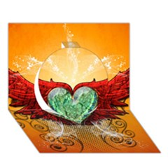 Beautiful Heart Made Of Diamond With Wings And Floral Elements Circle 3d Greeting Card (7x5)