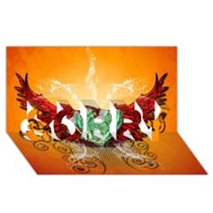 Beautiful Heart Made Of Diamond With Wings And Floral Elements SORRY 3D Greeting Card (8x4)