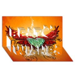 Beautiful Heart Made Of Diamond With Wings And Floral Elements Best Wish 3d Greeting Card (8x4)