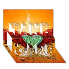 Beautiful Heart Made Of Diamond With Wings And Floral Elements Take Care 3d Greeting Card (7x5)