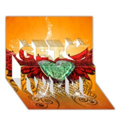 Beautiful Heart Made Of Diamond With Wings And Floral Elements Get Well 3D Greeting Card (7x5)