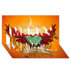 Beautiful Heart Made Of Diamond With Wings And Floral Elements Merry Xmas 3d Greeting Card (8x4)