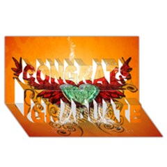 Beautiful Heart Made Of Diamond With Wings And Floral Elements Congrats Graduate 3d Greeting Card (8x4)