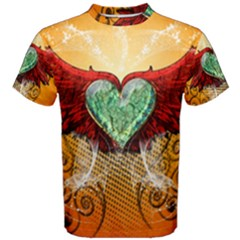 Beautiful Heart Made Of Diamond With Wings And Floral Elements Men s Cotton Tees