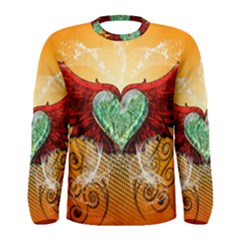 Beautiful Heart Made Of Diamond With Wings And Floral Elements Men s Long Sleeve T-shirts