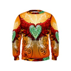 Beautiful Heart Made Of Diamond With Wings And Floral Elements Boys  Sweatshirts