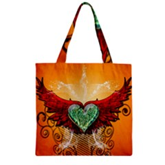 Beautiful Heart Made Of Diamond With Wings And Floral Elements Zipper Grocery Tote Bags