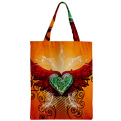 Beautiful Heart Made Of Diamond With Wings And Floral Elements Zipper Classic Tote Bags